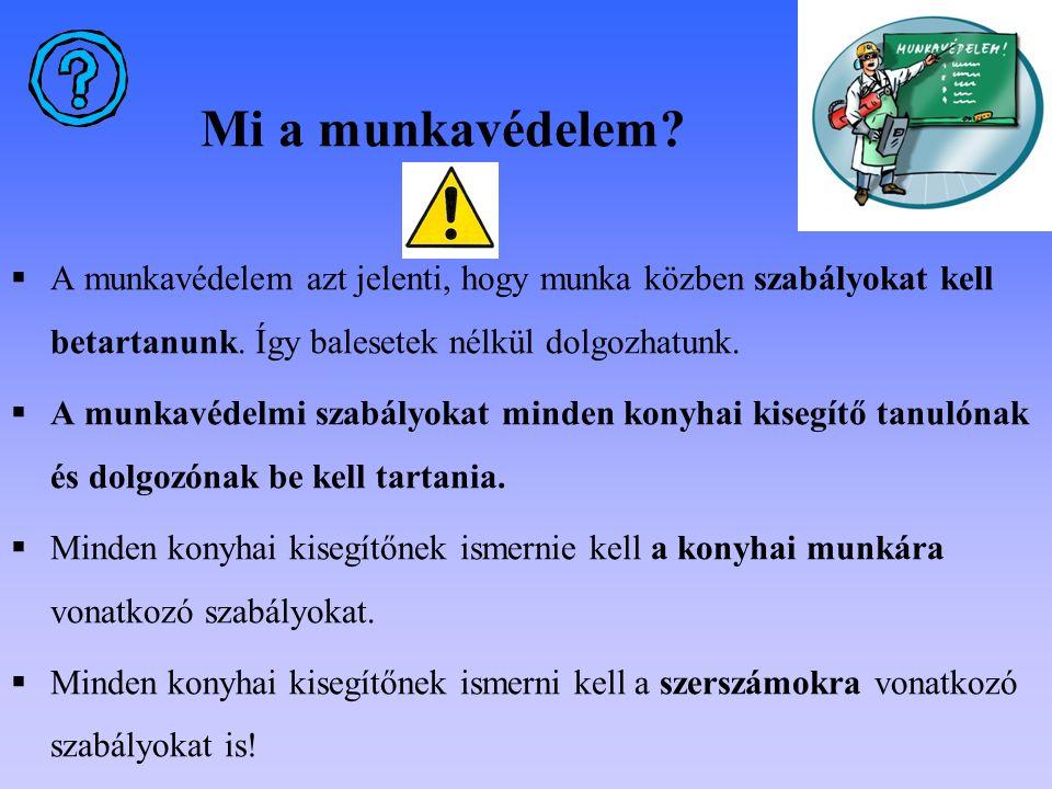 Mi a munkavédelem A munkavédelem azt jelenti, hogy munka közben szabályokat kell betartanunk. Így balesetek nélkül dolgozhatunk.