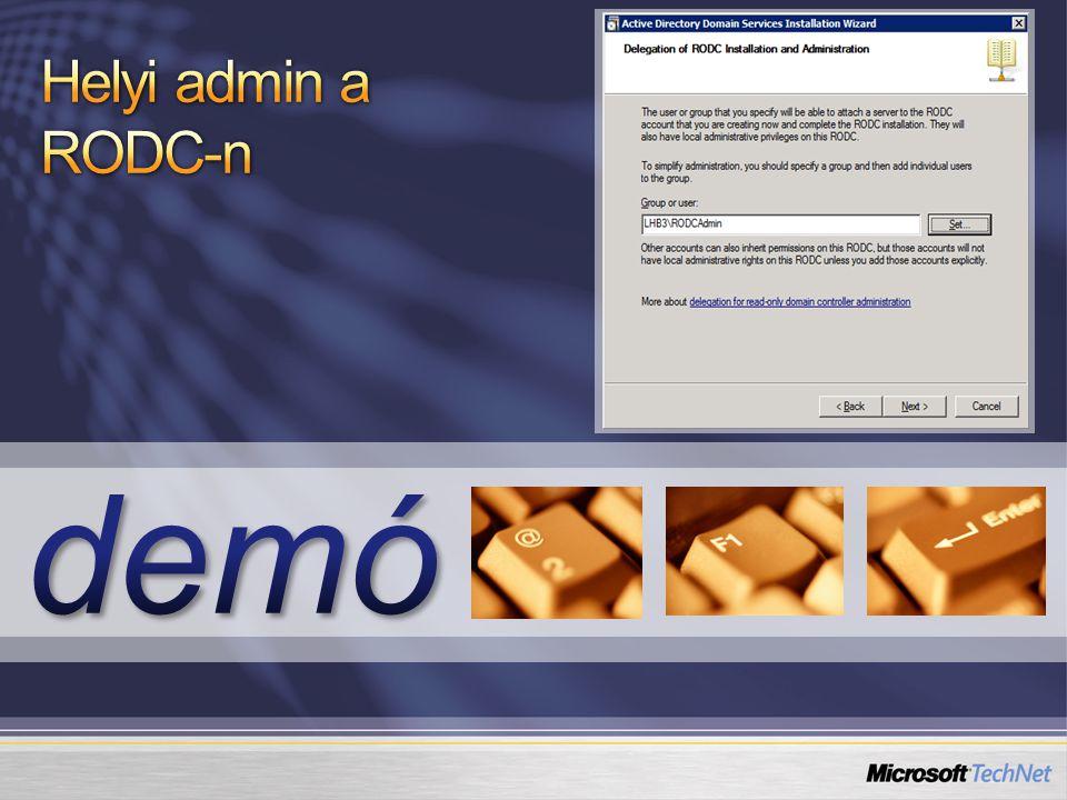 Helyi admin a RODC-n demó