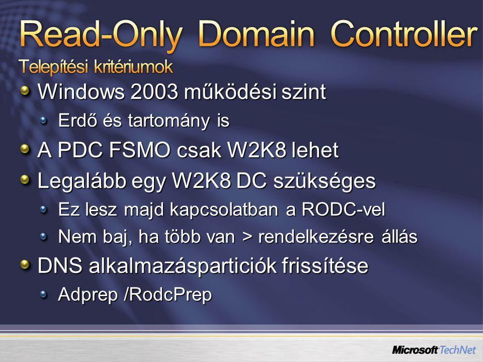 Read-Only Domain Controller Telepítési kritériumok