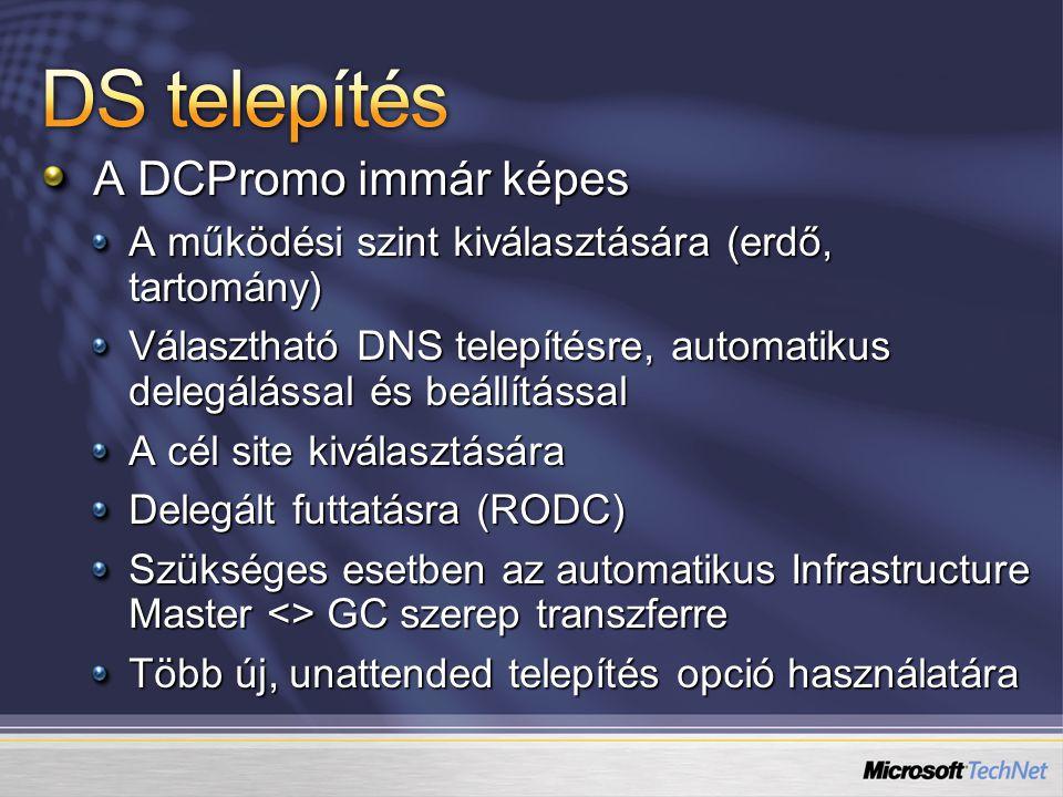 DS telepítés A DCPromo immár képes