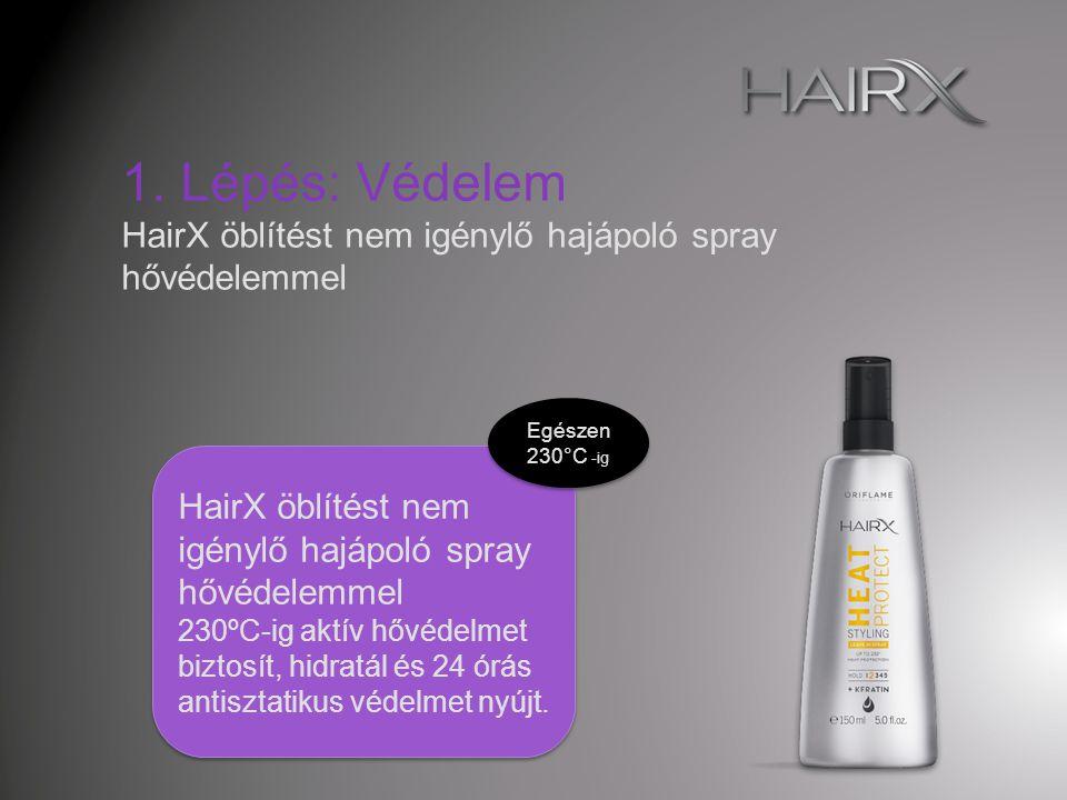 1. Lépés: Védelem HairX öblítést nem igénylő hajápoló spray hővédelemmel. Egészen 230°C -ig. HairX öblítést nem igénylő hajápoló spray hővédelemmel.