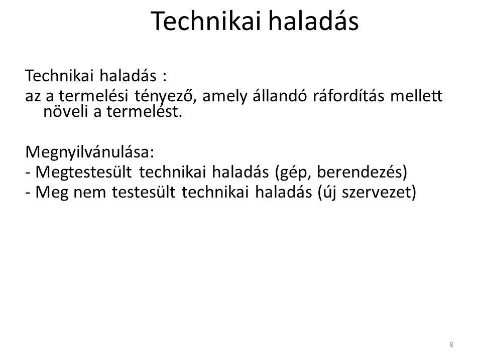 Technikai haladás Technikai haladás :