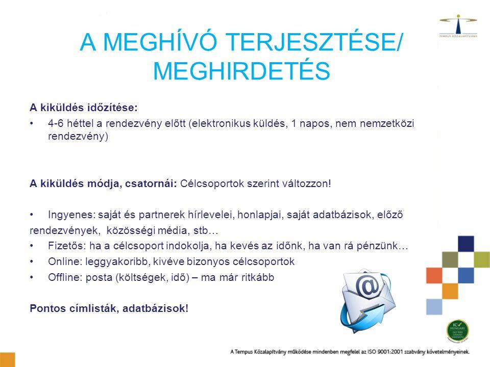 A MEGHÍVÓ TERJESZTÉSE/ MEGHIRDETÉS