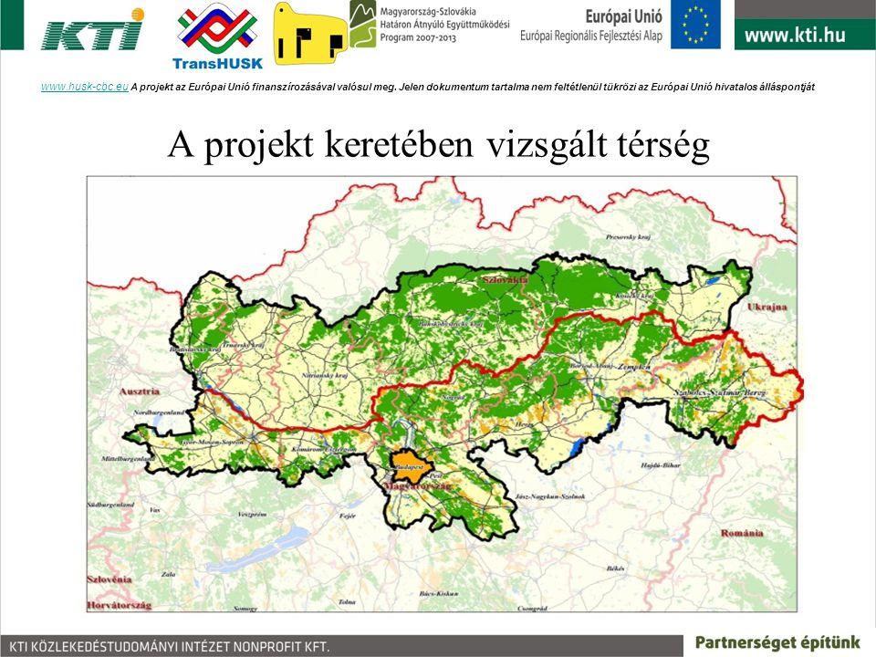 A projekt keretében vizsgált térség