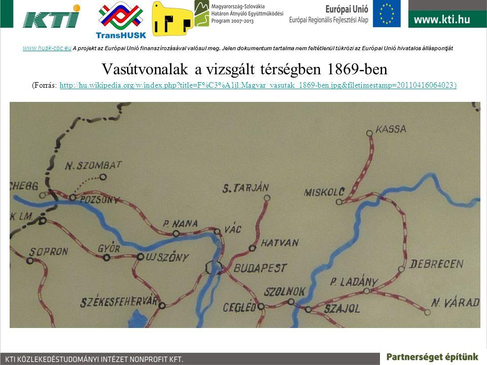 Vasútvonalak a vizsgált térségben 1869-ben
