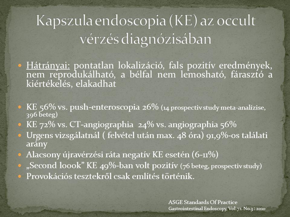 Kapszula endoscopia (KE) az occult vérzés diagnózisában