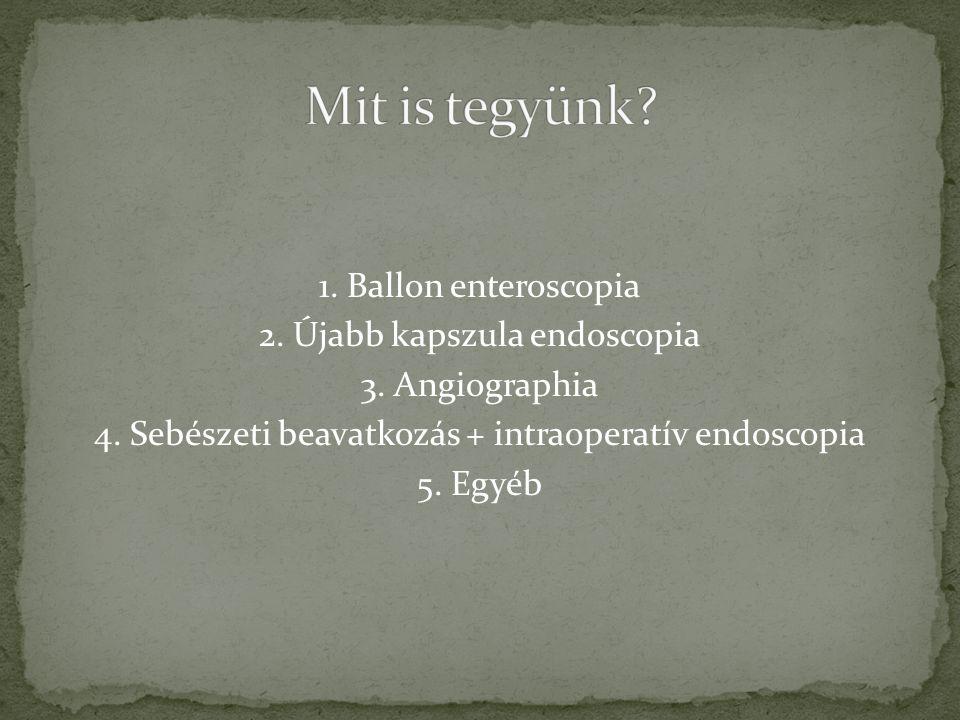 Mit is tegyünk. 1. Ballon enteroscopia 2. Újabb kapszula endoscopia 3.