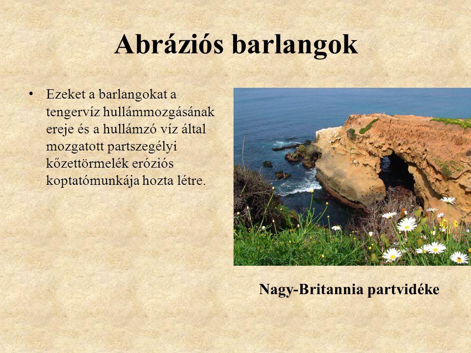 Abráziós barlangok Nagy-Britannia partvidéke
