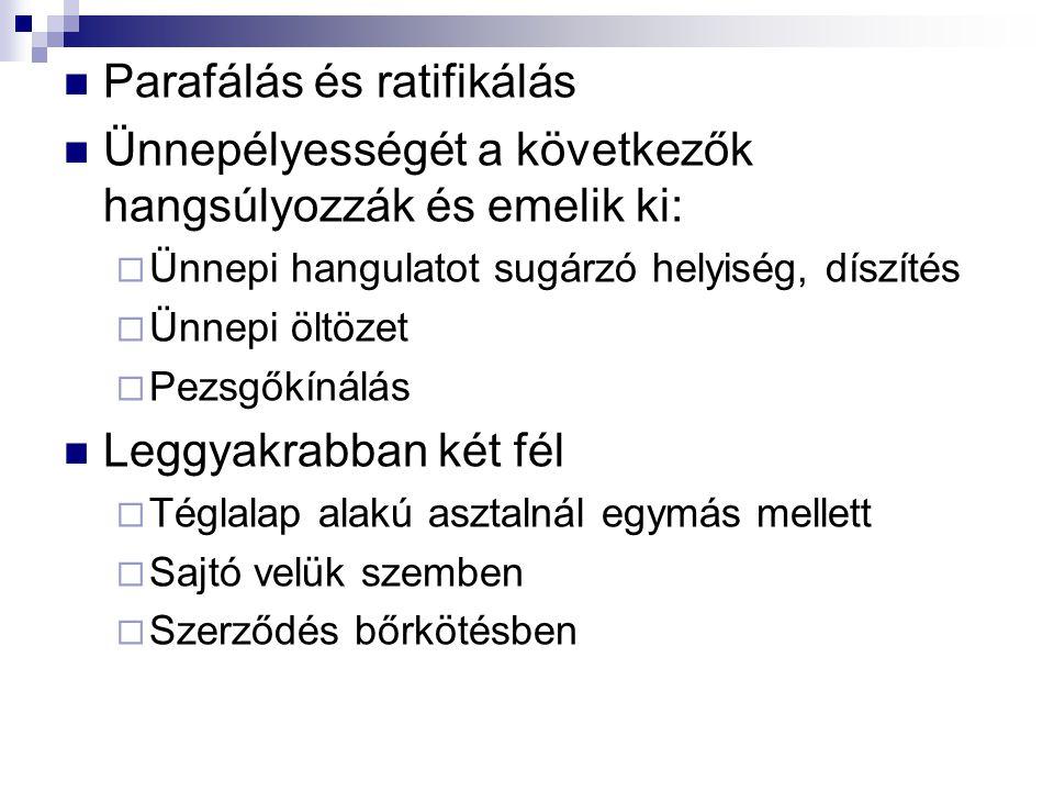 Parafálás és ratifikálás