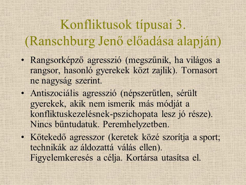 Konfliktusok típusai 3. (Ranschburg Jenő előadása alapján)
