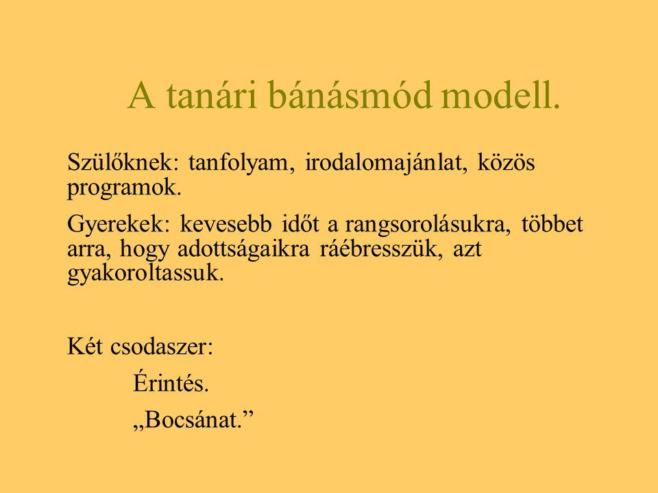 A tanári bánásmód modell.