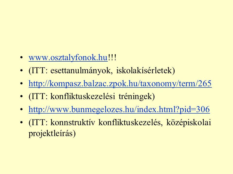 www.osztalyfonok.hu!!! (ITT: esettanulmányok, iskolakísérletek) http://kompasz.balzac.zpok.hu/taxonomy/term/265.