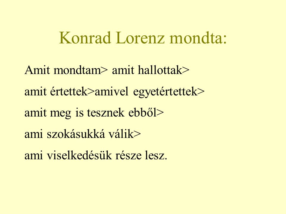 Konrad Lorenz mondta: Amit mondtam> amit hallottak>