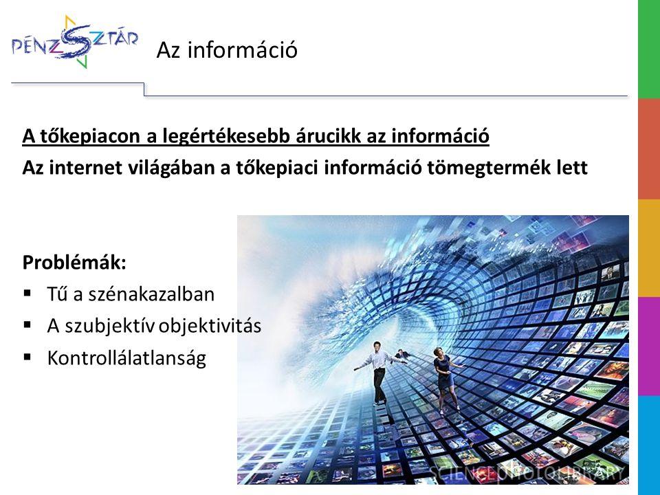 Az információ A tőkepiacon a legértékesebb árucikk az információ