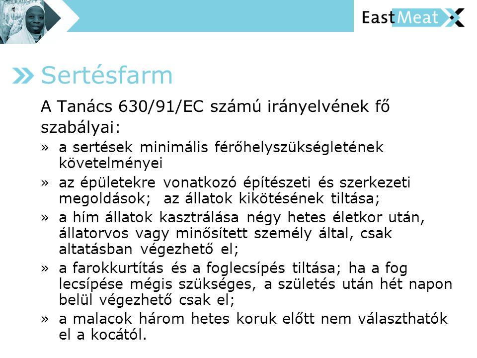 Sertésfarm A Tanács 630/91/EC számú irányelvének fő szabályai: