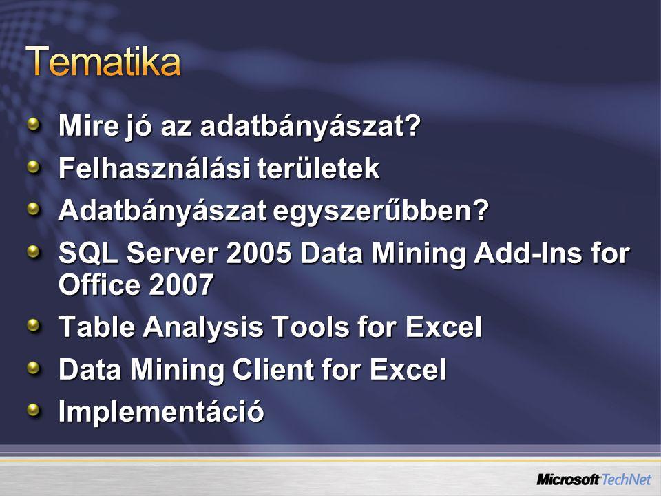 Tematika Mire jó az adatbányászat Felhasználási területek