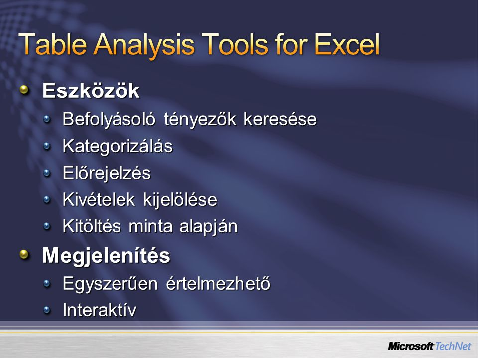 Table Analysis Tools for Excel