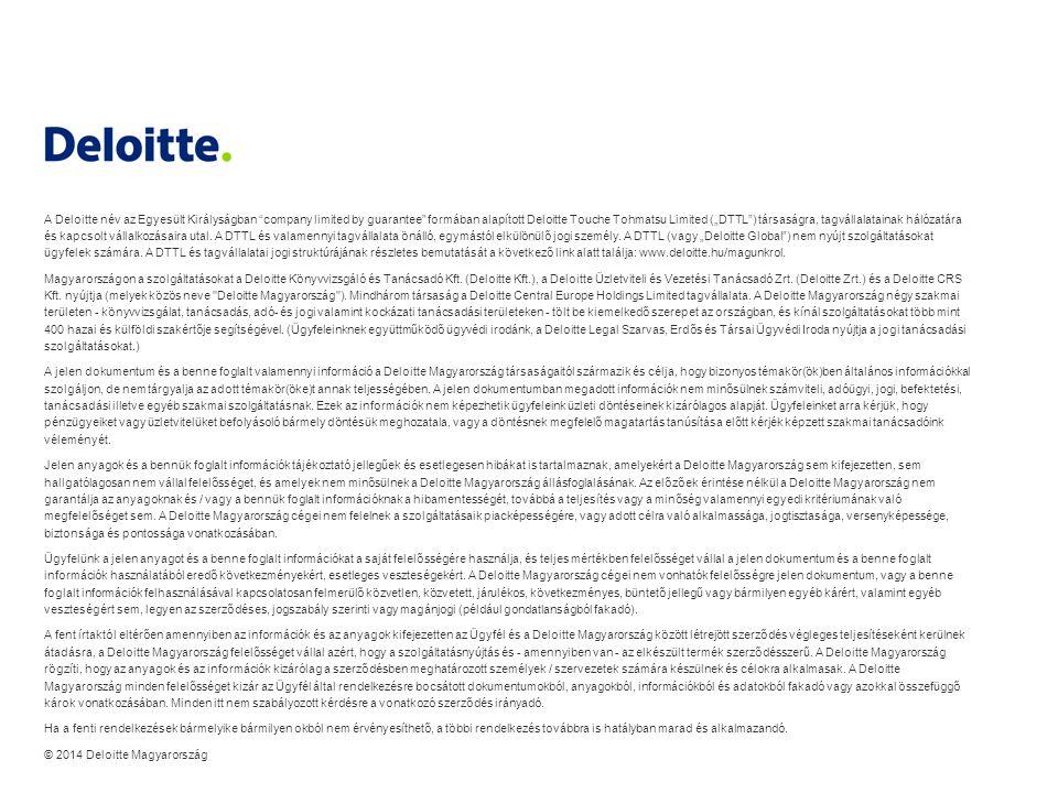 """A Deloitte név az Egyesült Királyságban company limited by guarantee formában alapított Deloitte Touche Tohmatsu Limited (""""DTTL ) társaságra, tagvállalatainak hálózatára és kapcsolt vállalkozásaira utal. A DTTL és valamennyi tagvállalata önálló, egymástól elkülönülő jogi személy. A DTTL (vagy """"Deloitte Global ) nem nyújt szolgáltatásokat ügyfelek számára. A DTTL és tagvállalatai jogi struktúrájának részletes bemutatását a következő link alatt találja: www.deloitte.hu/magunkrol."""