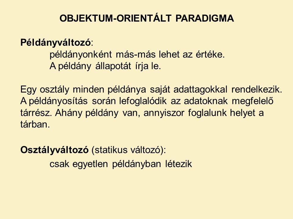 OBJEKTUM-ORIENTÁLT PARADIGMA