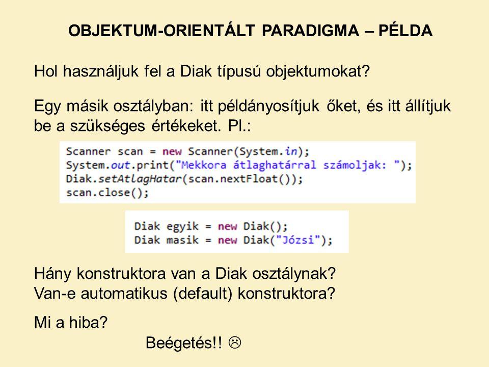 OBJEKTUM-ORIENTÁLT PARADIGMA – PÉLDA
