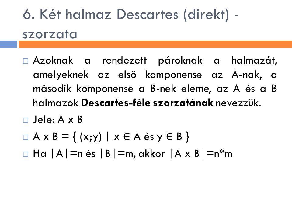6. Két halmaz Descartes (direkt) - szorzata