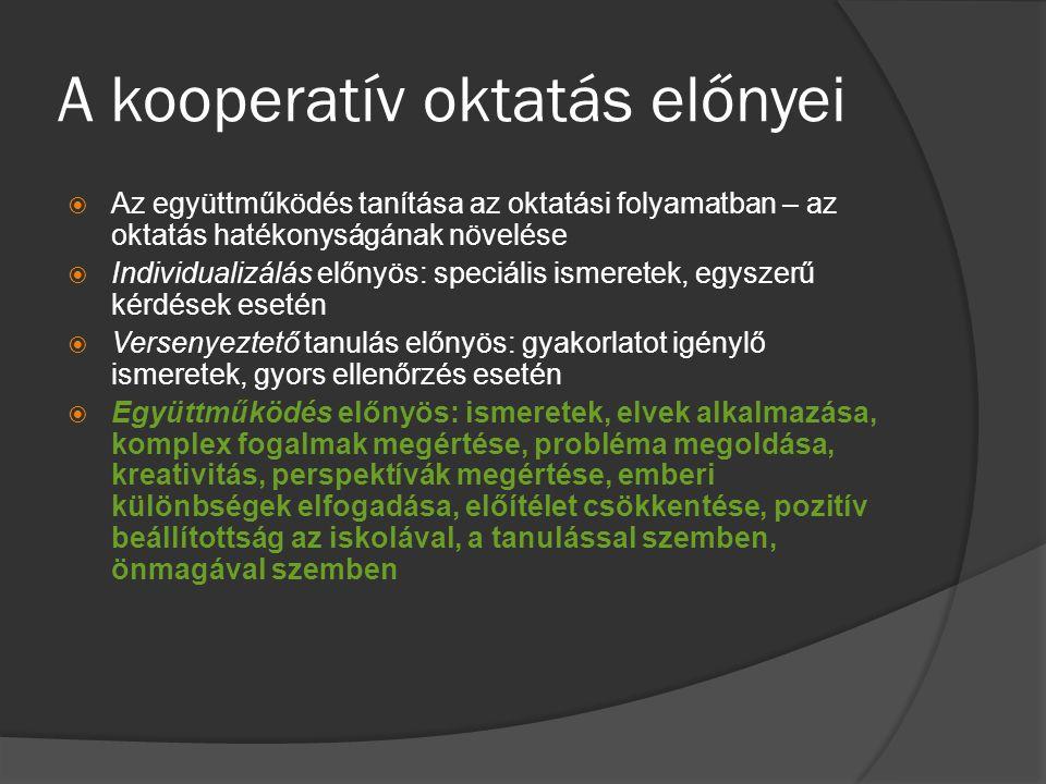 A kooperatív oktatás előnyei