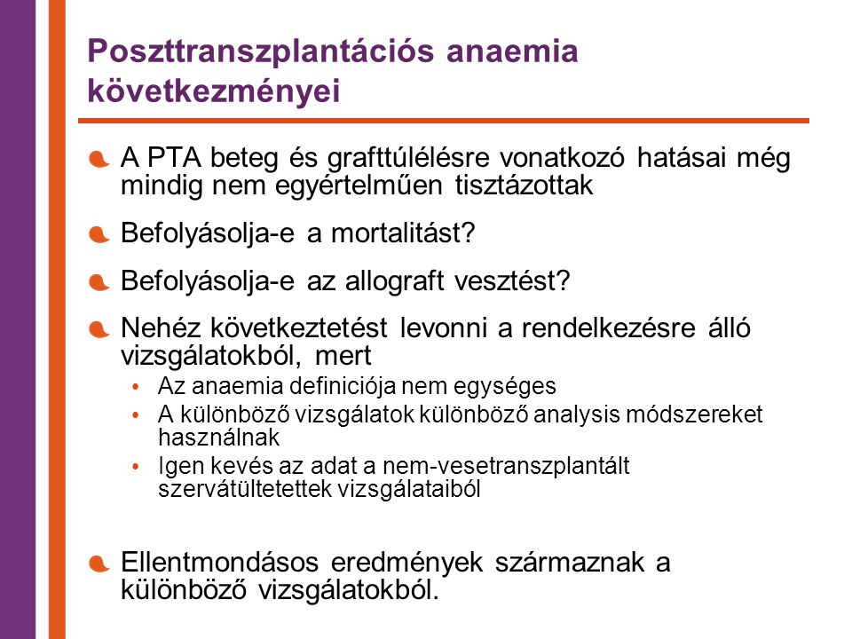 Poszttranszplantációs anaemia következményei