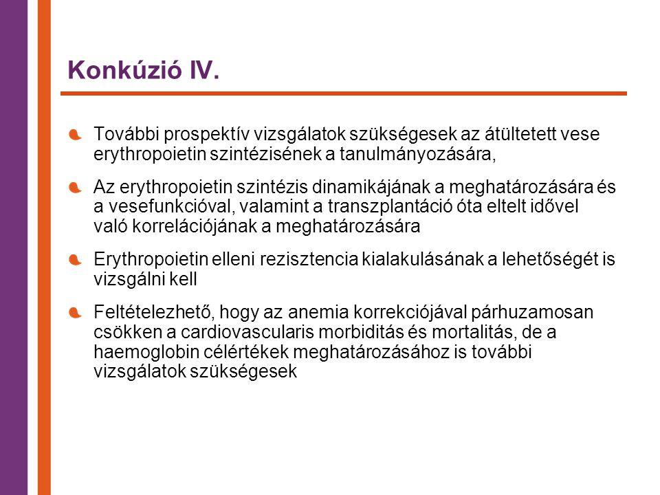 Konkúzió IV. További prospektív vizsgálatok szükségesek az átültetett vese erythropoietin szintézisének a tanulmányozására,