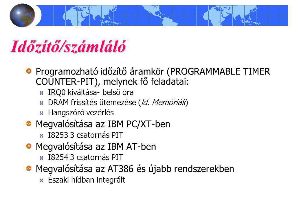 Időzítő/számláló Programozható időzítő áramkör (PROGRAMMABLE TIMER COUNTER-PIT), melynek fő feladatai: