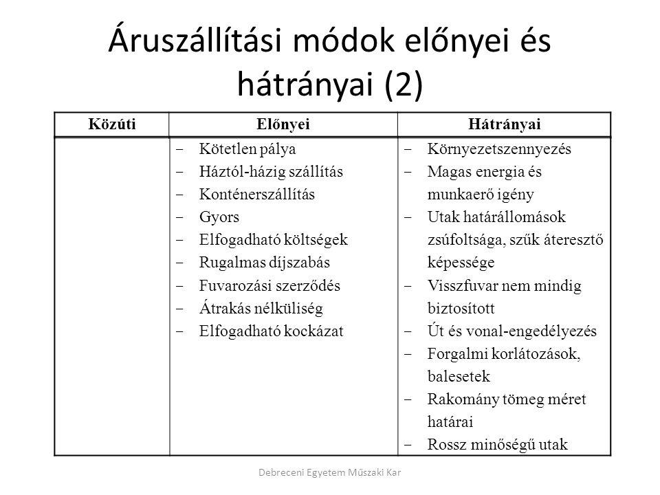 Áruszállítási módok előnyei és hátrányai (2)