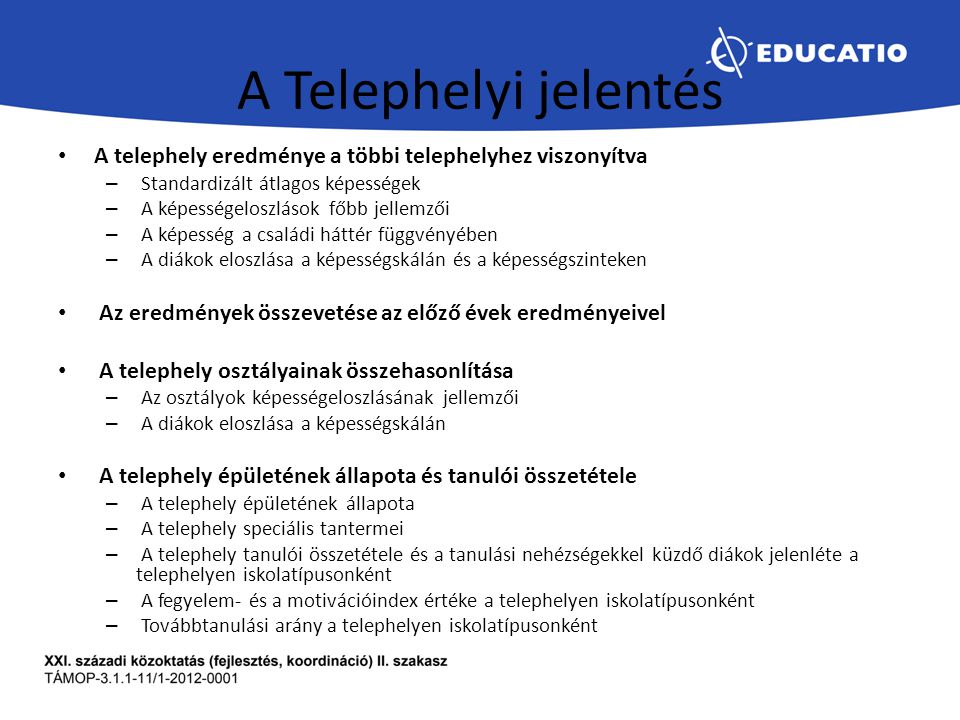 A Telephelyi jelentés A telephely eredménye a többi telephelyhez viszonyítva. Standardizált átlagos képességek.