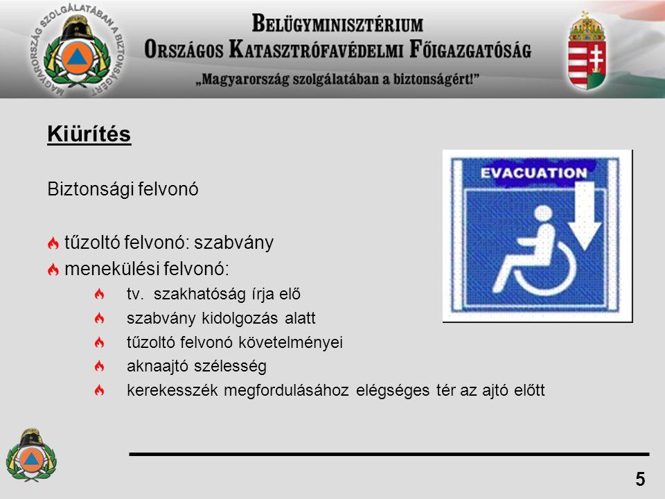 Kiürítés Biztonsági felvonó tűzoltó felvonó: szabvány