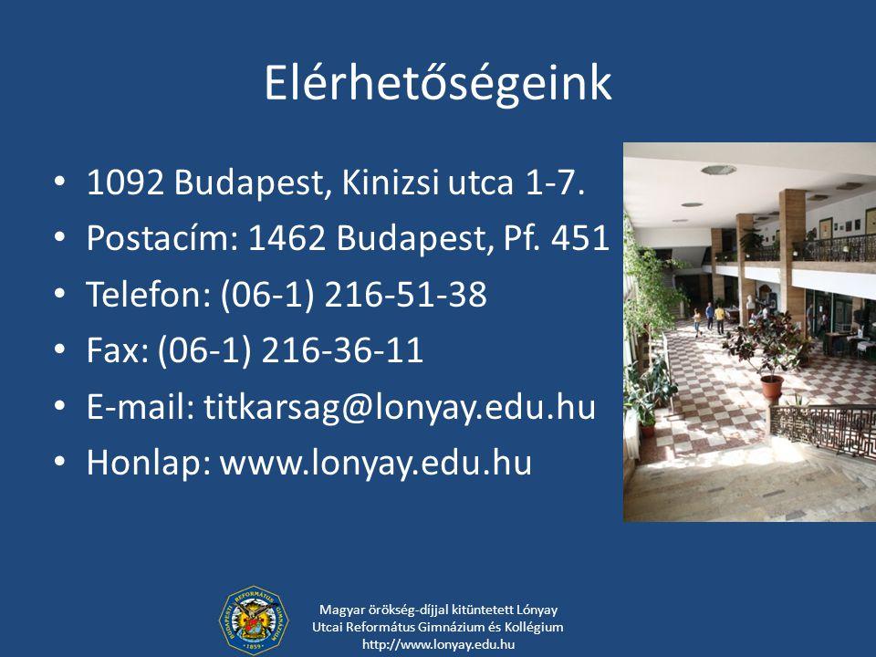 Elérhetőségeink 1092 Budapest, Kinizsi utca 1-7.