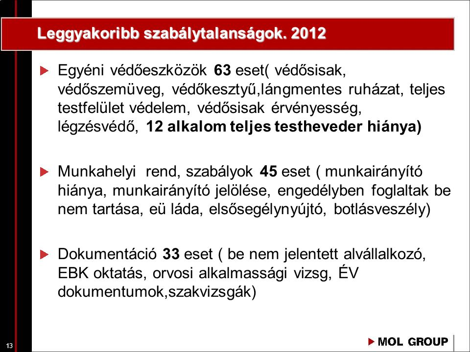 Leggyakoribb szabálytalanságok. 2012