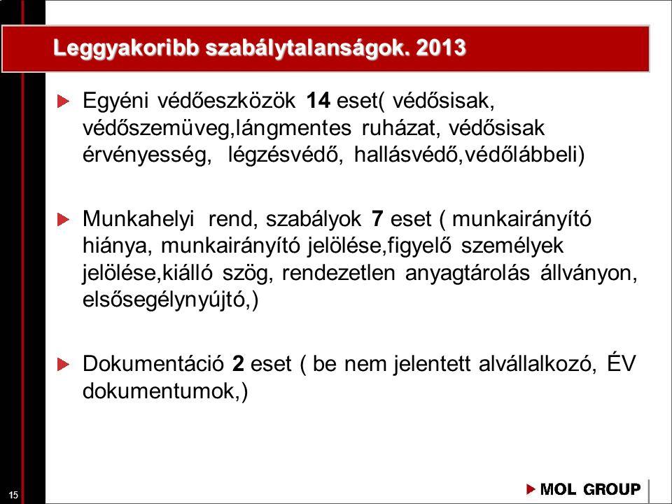 Leggyakoribb szabálytalanságok. 2013