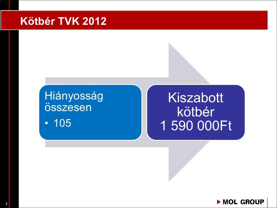 Kötbér TVK 2012 Hiányosság összesen 105 Kiszabott kötbér 1 590 000Ft