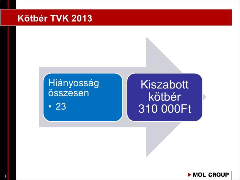 Kötbér TVK 2013 Hiányosság összesen 23 Kiszabott kötbér 310 000Ft