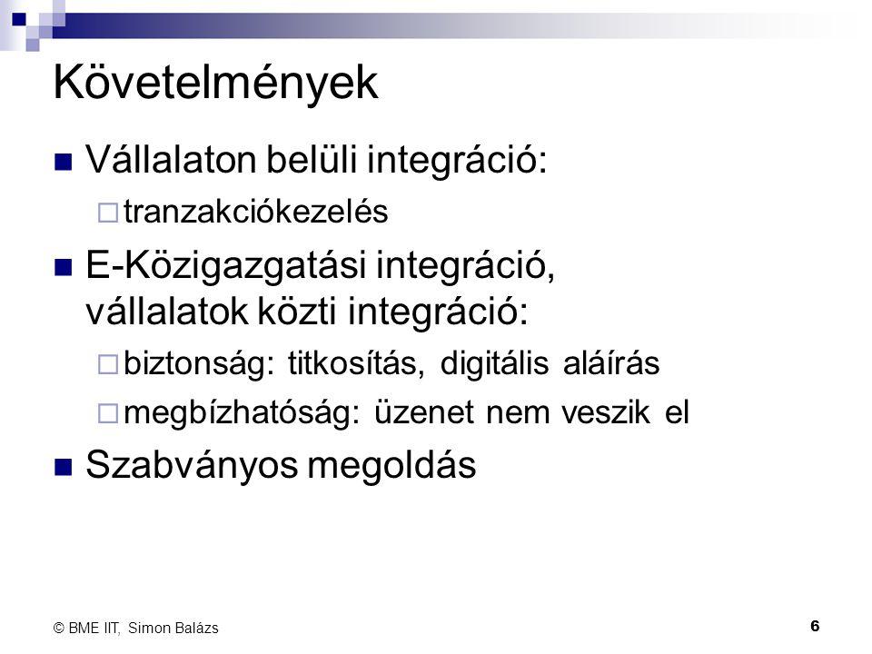 Követelmények Vállalaton belüli integráció: