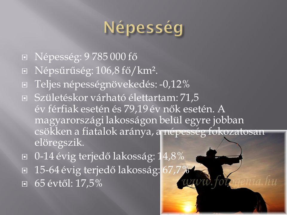 Népesség Népesség: 9 785 000 fő Népsűrűség: 106,8 fő/km².