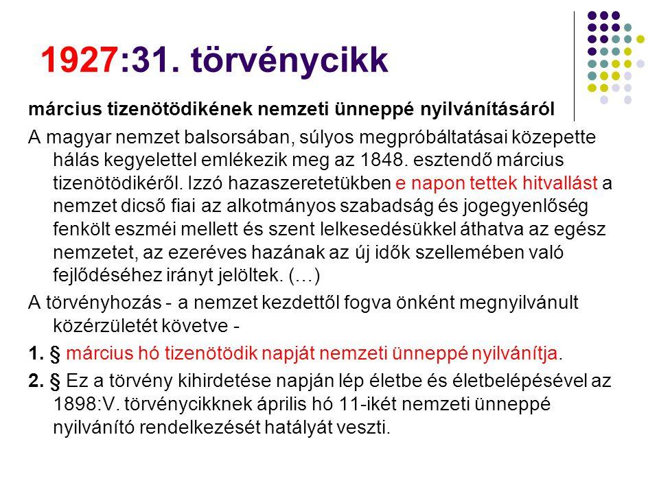 1927:31. törvénycikk március tizenötödikének nemzeti ünneppé nyilvánításáról.