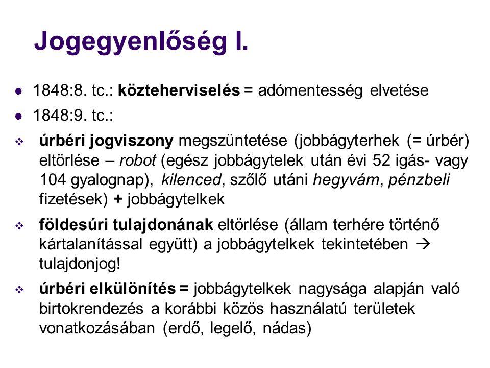 Jogegyenlőség I. 1848:8. tc.: közteherviselés = adómentesség elvetése