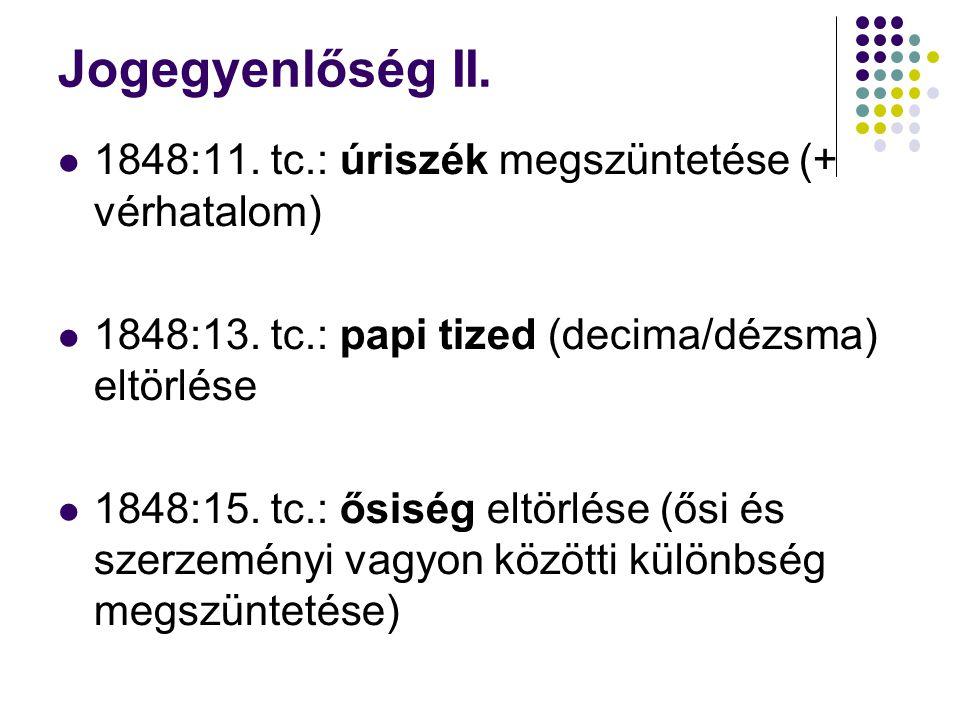 Jogegyenlőség II. 1848:11. tc.: úriszék megszüntetése (+ vérhatalom)
