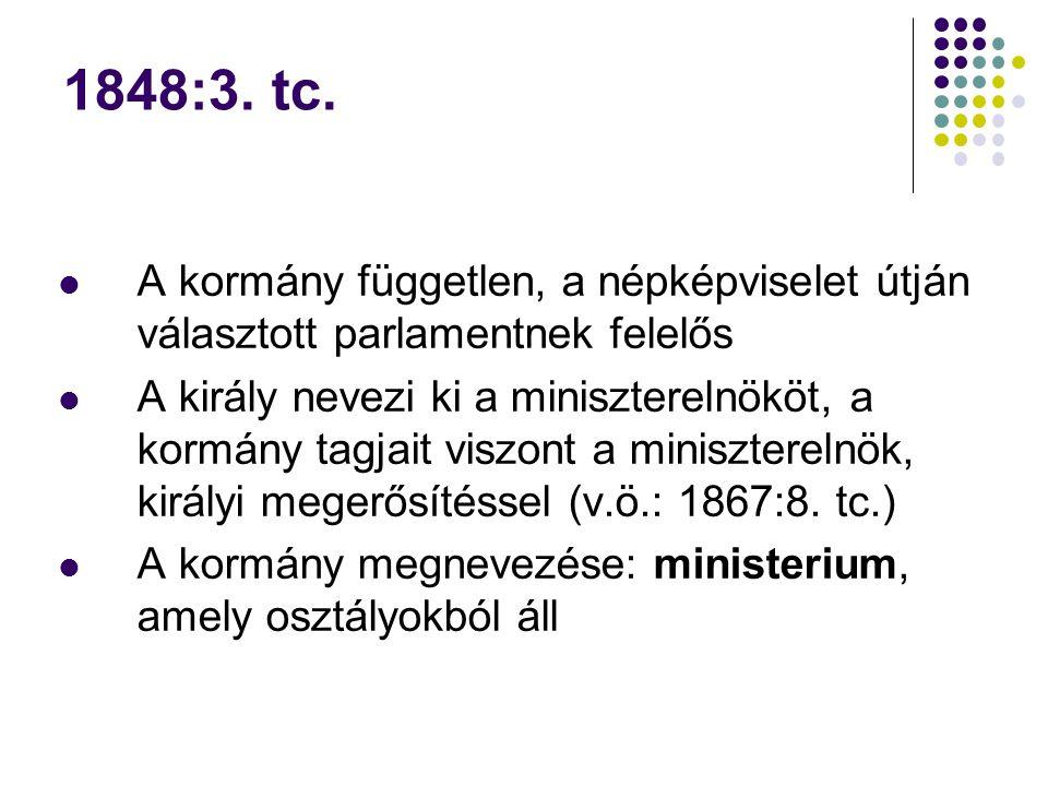 1848:3. tc. A kormány független, a népképviselet útján választott parlamentnek felelős.