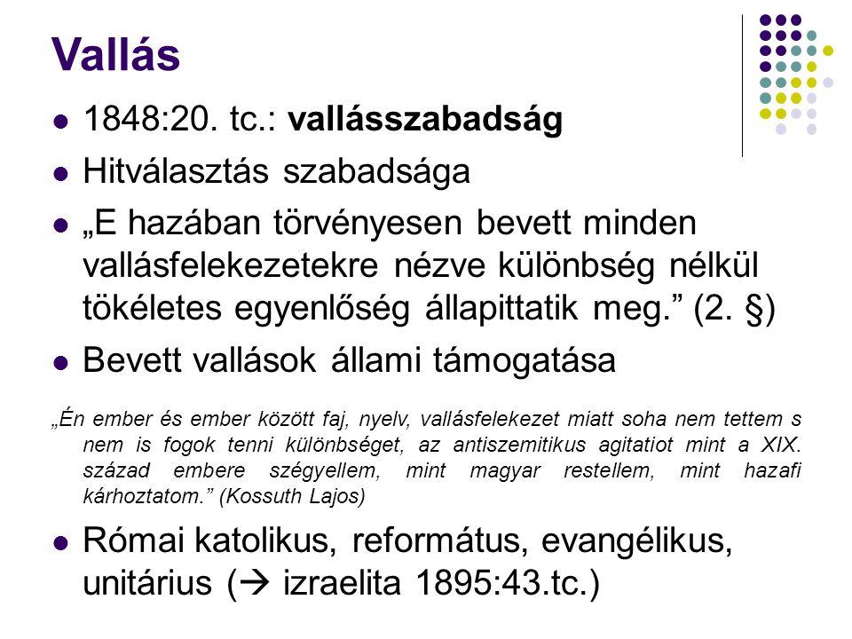 Vallás 1848:20. tc.: vallásszabadság Hitválasztás szabadsága