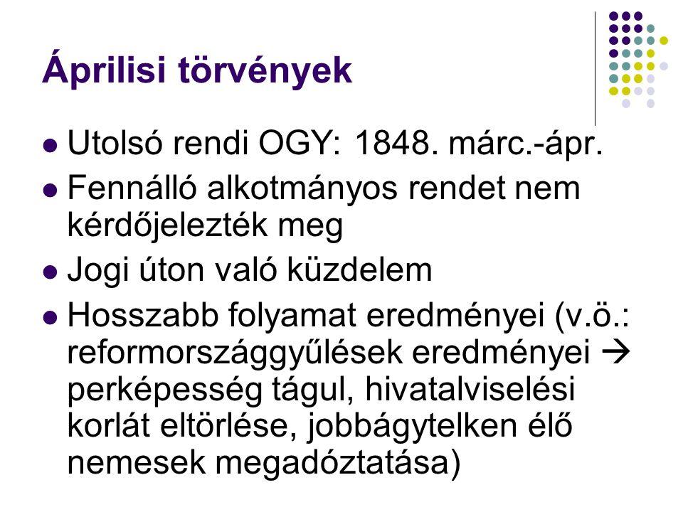 Áprilisi törvények Utolsó rendi OGY: 1848. márc.-ápr.