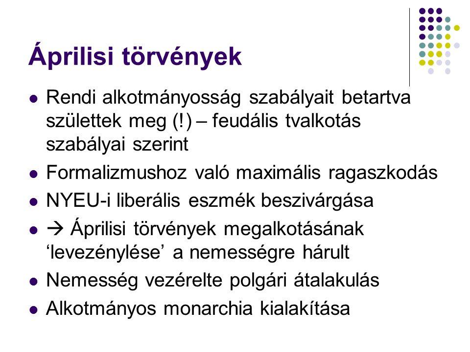 Áprilisi törvények Rendi alkotmányosság szabályait betartva születtek meg (!) – feudális tvalkotás szabályai szerint.