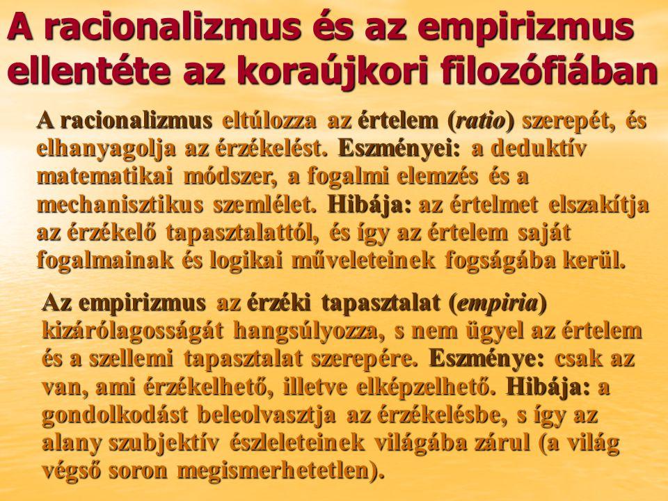 A racionalizmus és az empirizmus ellentéte az koraújkori filozófiában