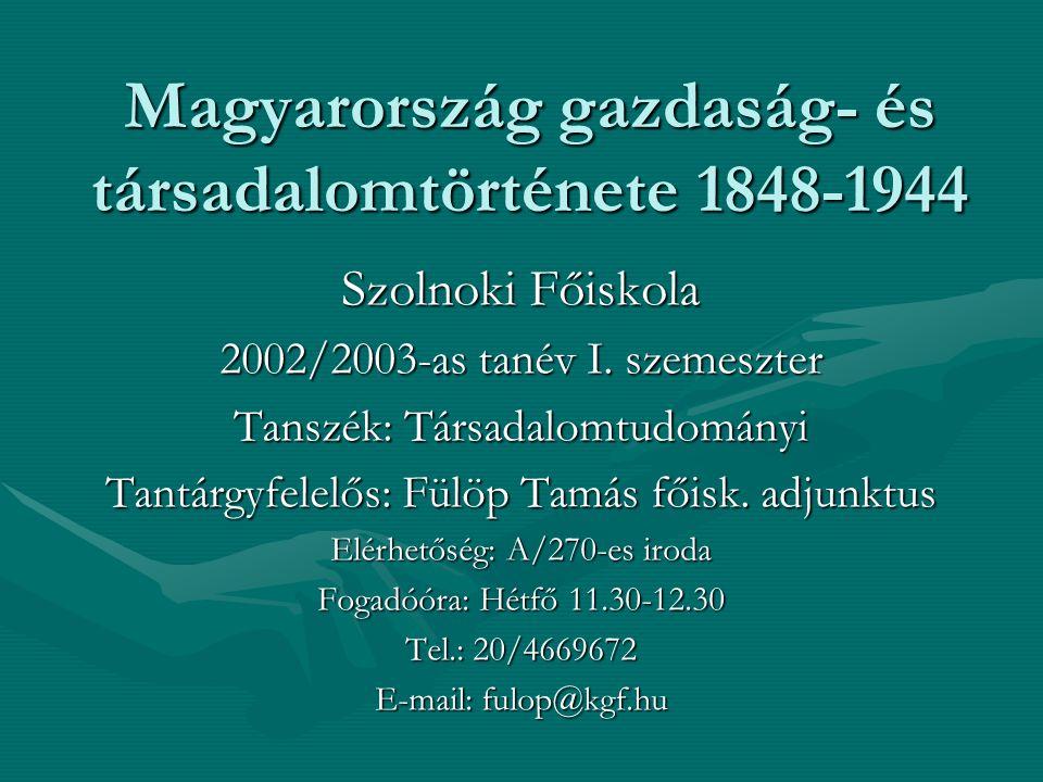 Magyarország gazdaság- és társadalomtörténete 1848-1944