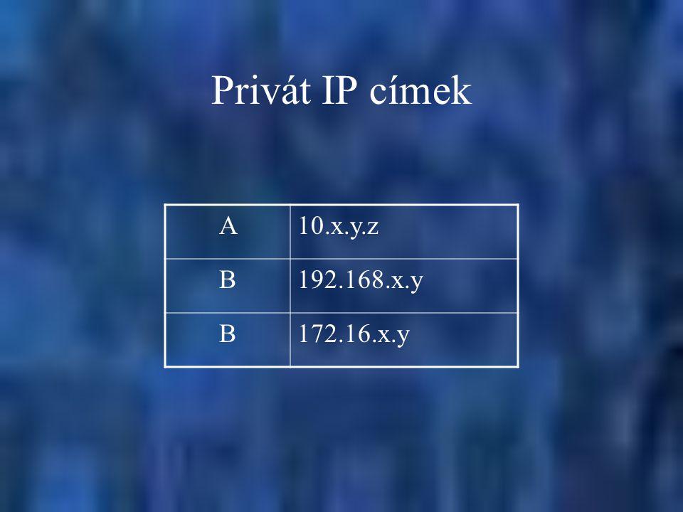 Privát IP címek A 10.x.y.z B 192.168.x.y 172.16.x.y