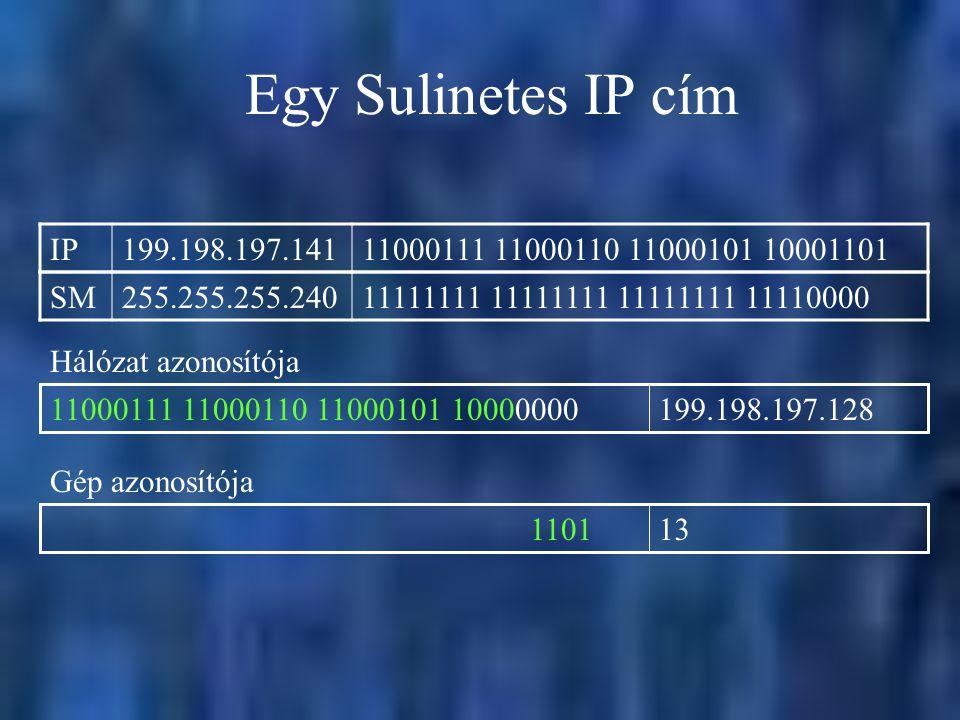 Egy Sulinetes IP cím IP. 199.198.197.141. 11000111 11000110 11000101 10001101. SM. 255.255.255.240.